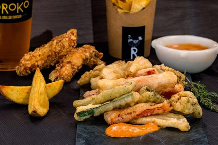 verdura en tempura coroko, Se sirve por separado en el menú veggie o por separado en tus comidas y cenas en Gandia
