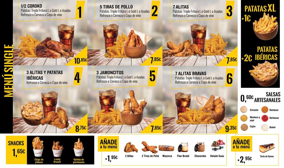 menús de pollo frito. alitas, nuggets con Servicio a domicilio gandia coroko